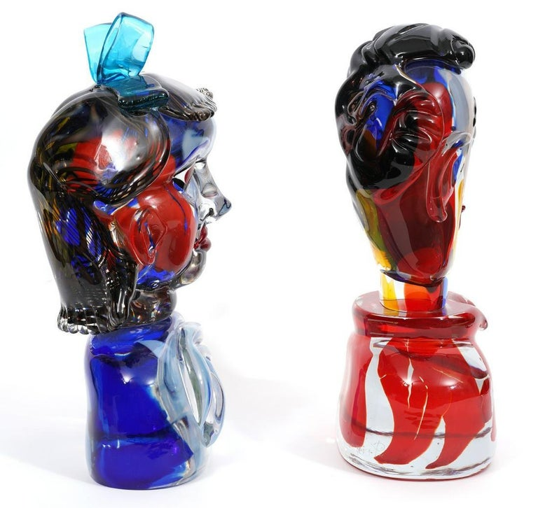 Girl And Boy Tribute To Picasso Murano Glass Sculpture For Sale 2
