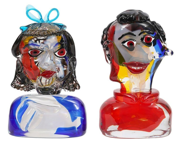 Walter Furlan Abstract Sculpture - Girl And Boy Tribute To Picasso Murano Glass Sculpture