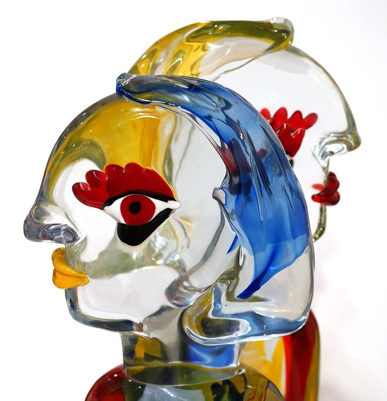 The Pair Homage to Picasso Glass Sculpture For Sale 1