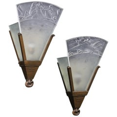Walter Gilbert and John Walsh Walsh Pair of Art Deco Glass and Bronze Wall Lamps