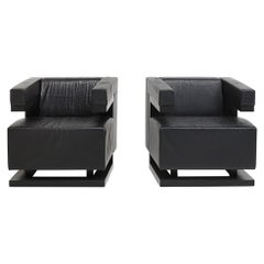 Walter Gropius f51 chairs in black leather