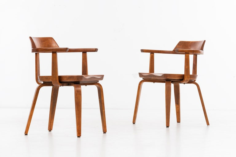 Laminated Walter Gropius Set of Eight Armchairs For Sale