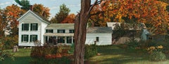 Upstate, Oil painting of a White House in Autumn by Walter Hatke, mid 1990s