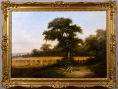 19th Century harvest scene landscape oil painting