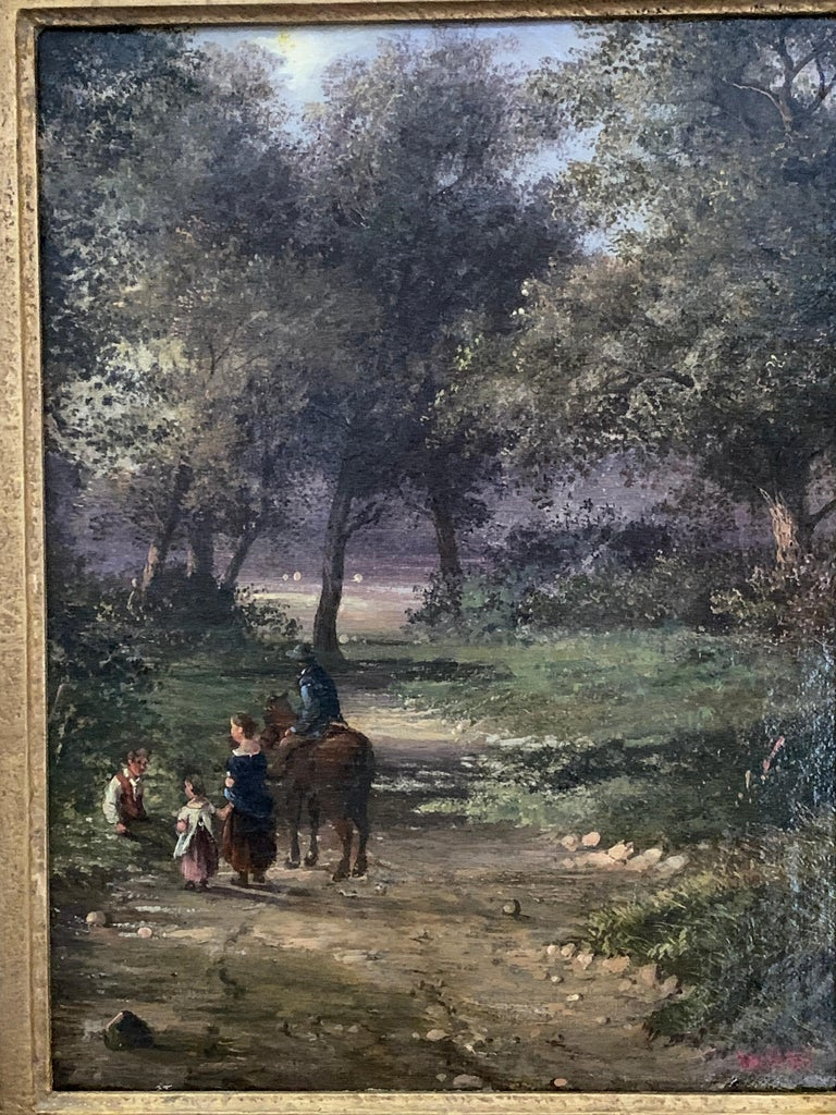 English 19th century landscape with figures and a man on a horse in a woodland - Painting by Walter Heath Williams