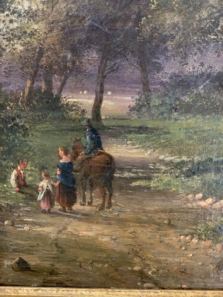 English 19th century landscape with figures and a man on a horse in a woodland 2