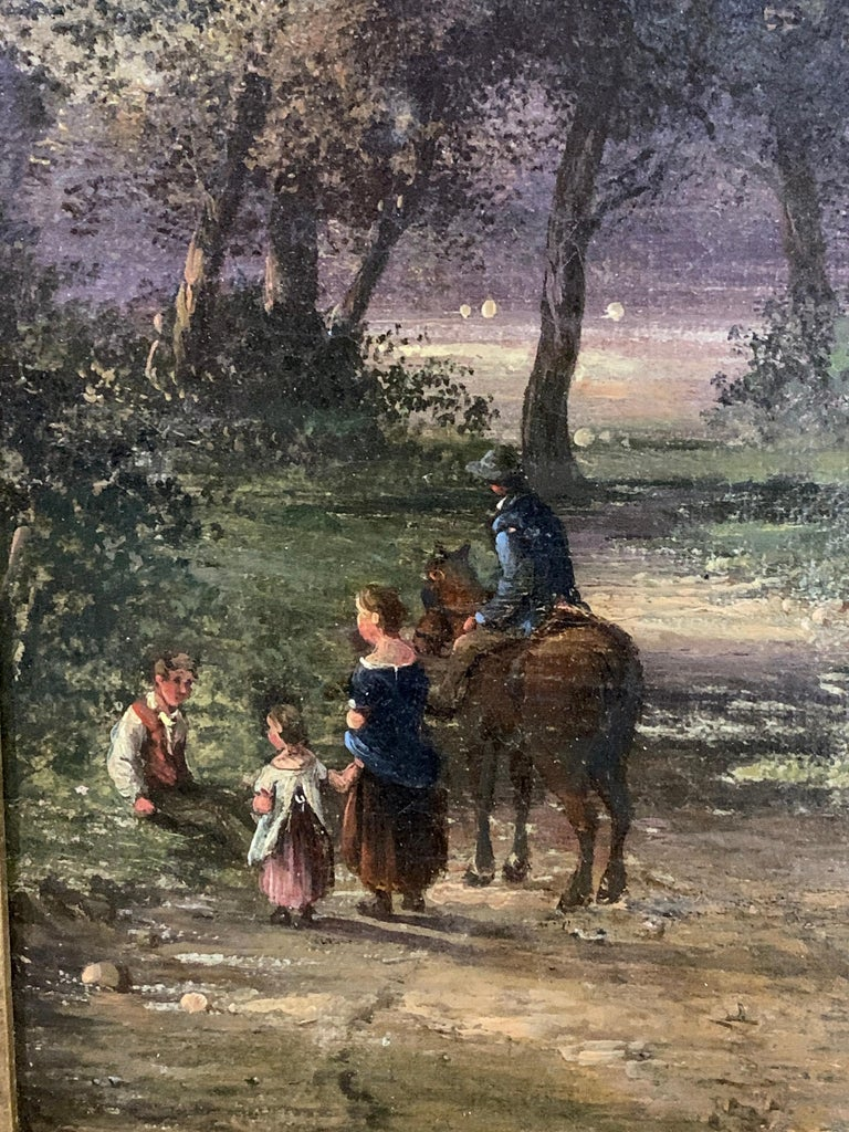 English 19th century landscape with figures and a man on a horse in a woodland 3