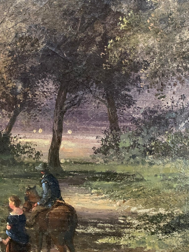 English 19th century landscape with figures and a man on a horse in a woodland 4