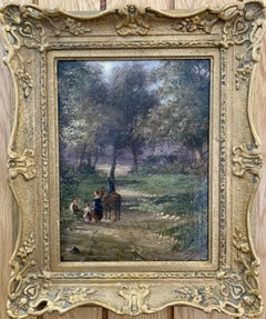 English 19th century landscape with figures and a man on a horse in a woodland