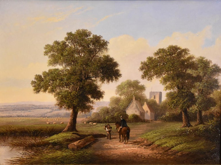 """Oil Painting by Walter Heath Williams """"A Tranquil Country Lane"""" Heath Williams was a popular painter of 'Old' England was flourished 1841-1876. Oil on Canvas. Signed   All of the items that we advertise for sale have been as accurately described as"""