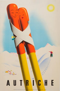 Original Vintage Winter Sport Skiing Travel Poster Austria Autriche Romantic Ski