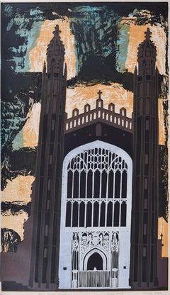 Walter Hoyle King's College Chapel Cambridge linocut print Modern British Art