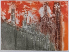 Walter Hoyle King's College Chapel in red Cambridge linocut print