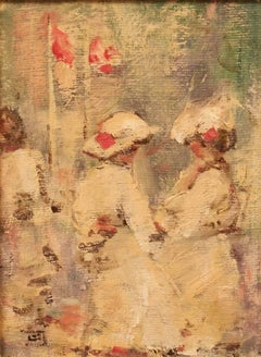 Girls in France - Mid - Late 20th Century Impressionist Oil by Walter Beauvais
