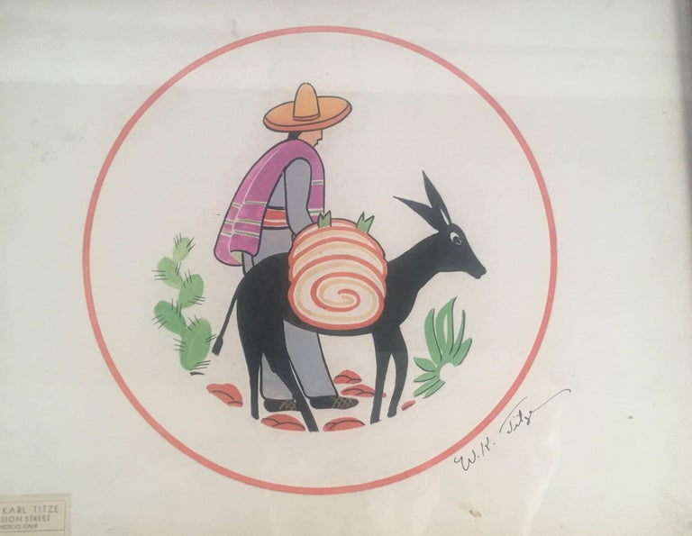 American Art Deco Walter Karl Titze MexicanThemed Drawing for a Dinner Plate For Sale