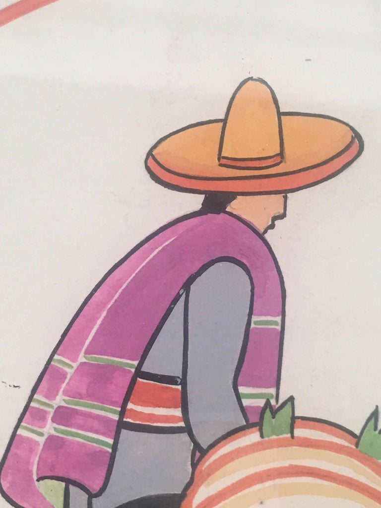 Mid-20th Century Art Deco Walter Karl Titze MexicanThemed Drawing for a Dinner Plate For Sale