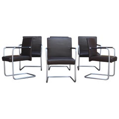Walter Knoll Cantilever Chairs Set of 6 Dark Brown Leather EOOS