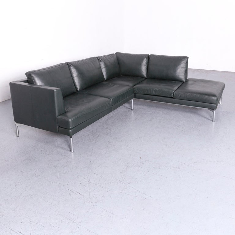 Walter Knoll Designer Leather Sofa Green Corner Couch at 1stdibs