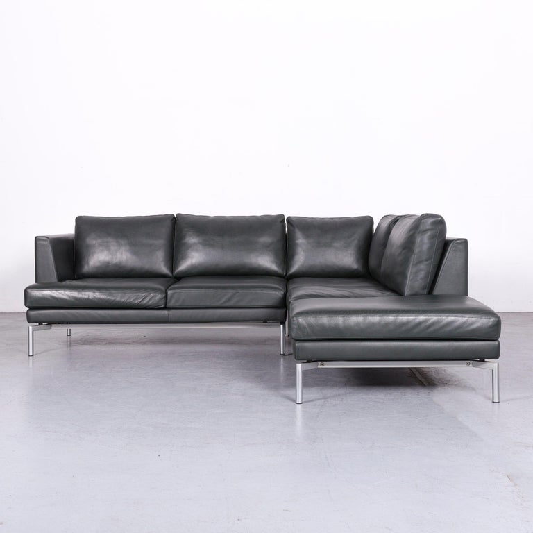 Walter Knoll Designer Leather Sofa Green Corner Couch