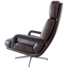 Walter Knoll Don Lounge Chair in mud Leather, German, Mid-century modern, swivel