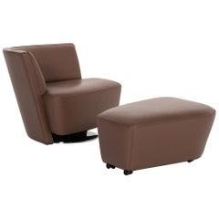 Walter Knoll Drift Leather Armchair Set Brown 1 Armchair 1 Stool