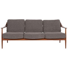 Walter Knoll Fabric Sofa Gray Three-Seat Couch