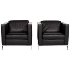 Walter Knoll Foster 500 Leather Armchair Set Black 2 Armchairs