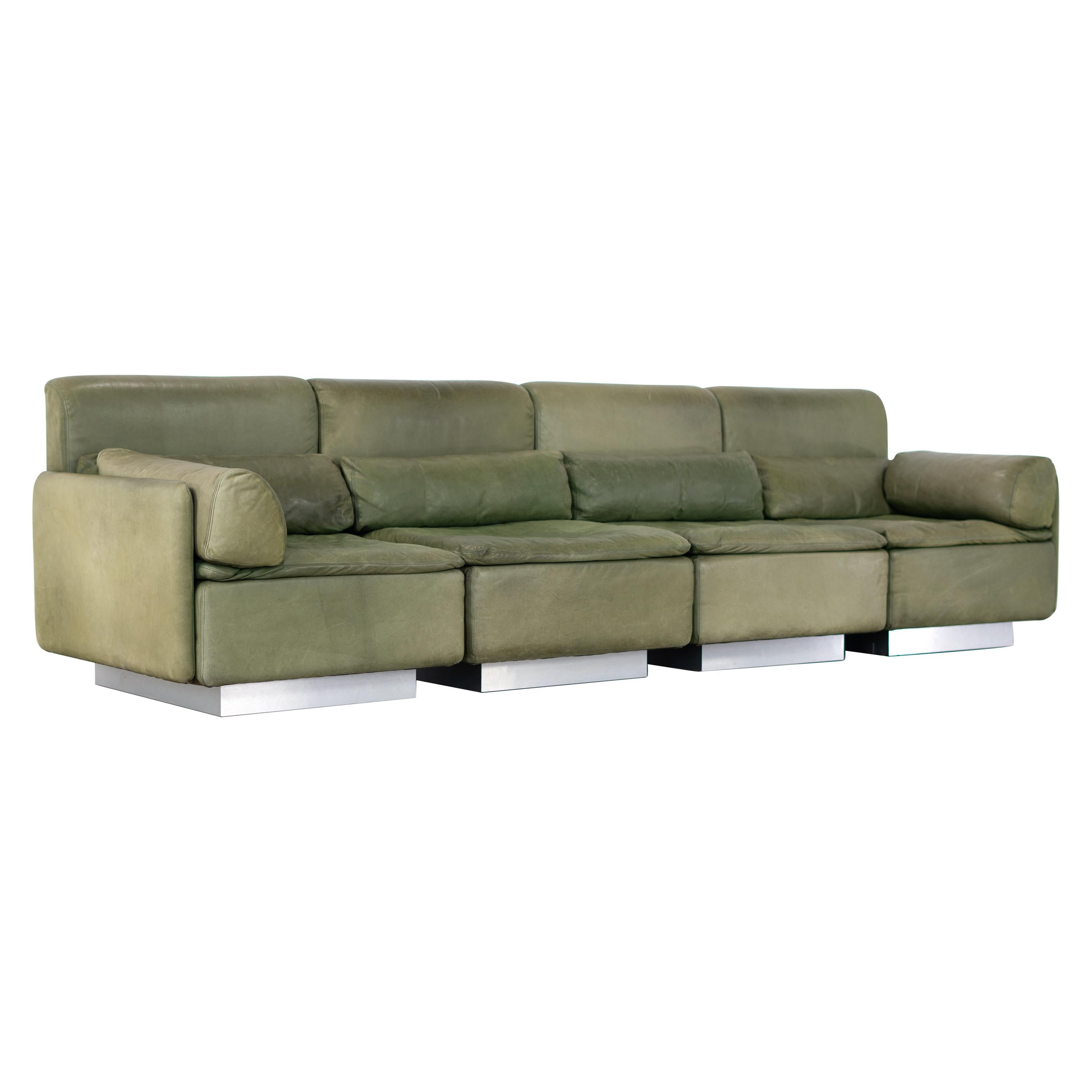 Walter Knoll, Hollywood Lounge 4 Seater Sectional Sofa, 1972 for Knoll, Olive