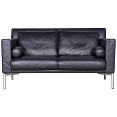 Walter Knoll Jason Designer Leather Couch Blue Two-Seat Couch