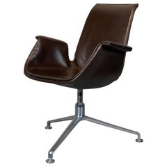 Walter Knoll / Kastholm & Fabricius FK 6725 Tulip Chair / Brown Leather