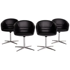 Walter Knoll Kyo Leather Armchair Set Black 4 Chair Swivel