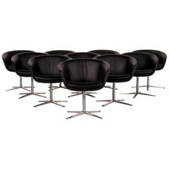 Walter Knoll Leather Armchair Set Black 10 Chair