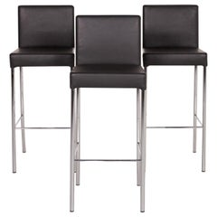 Walter Knoll Leather Bar Stool Set Anthracite Gray 3 Chair