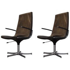 Walter Knoll Leather Office / Desk Swivel Armchairs, Germany, 1975