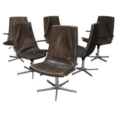Four Walter Knoll Leather Office / Desk Swivel Armchairs, Germany, 1975