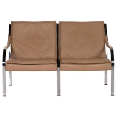 Walter Knoll Leather Sofa Beige Brown Two-Seater Couch