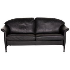 Walter Knoll Leather Sofa Black Two-Seat Couch