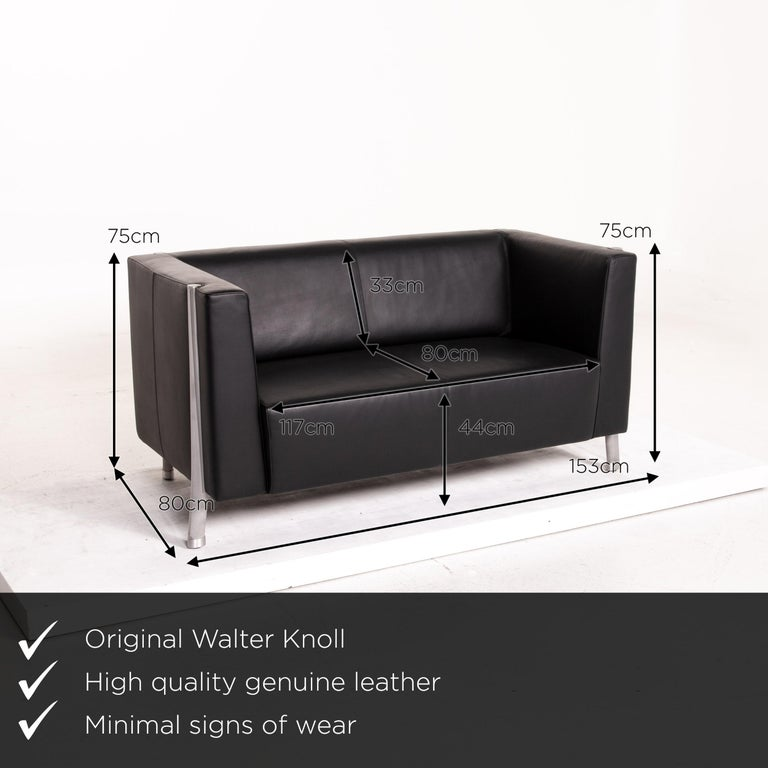 We present to you a Walter Knoll leather sofa black two-seat couch.