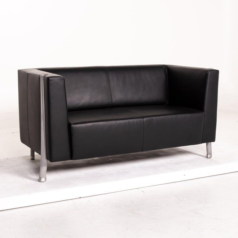 Walter Knoll Leather Sofa Black Two-Seat Couch In Good Condition In Cologne, DE