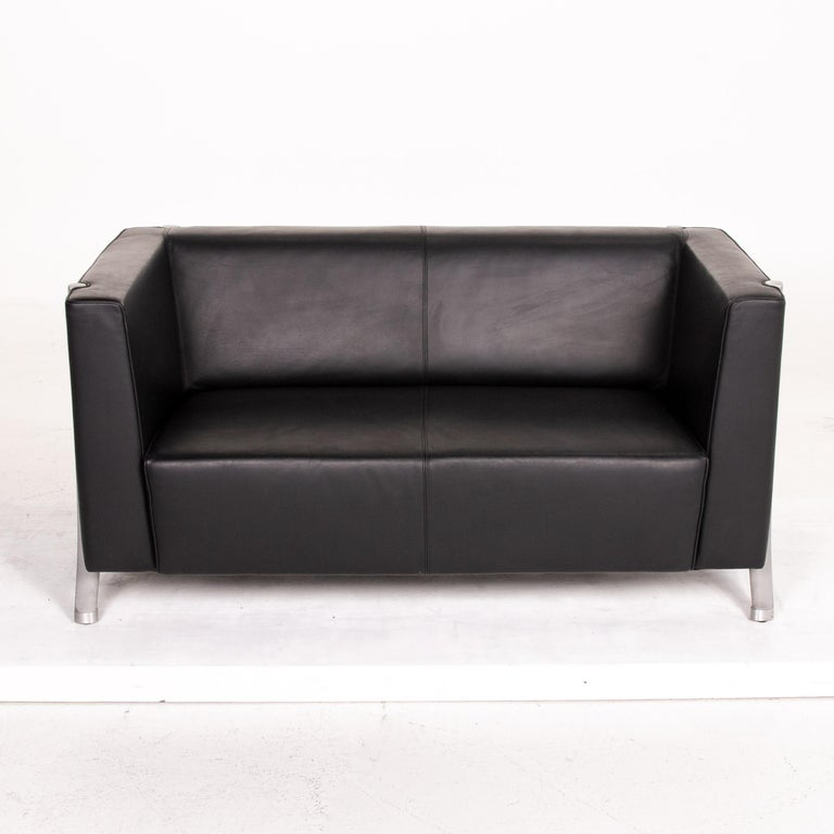 Contemporary Walter Knoll Leather Sofa Black Two-Seat Couch