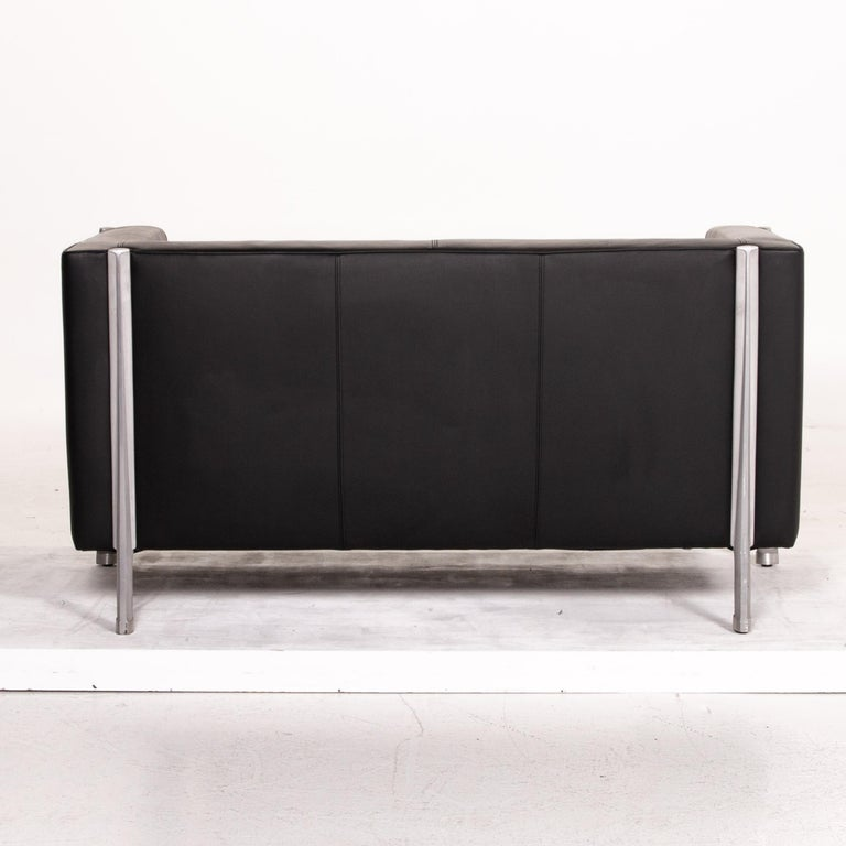 Walter Knoll Leather Sofa Black Two-Seat Couch 2