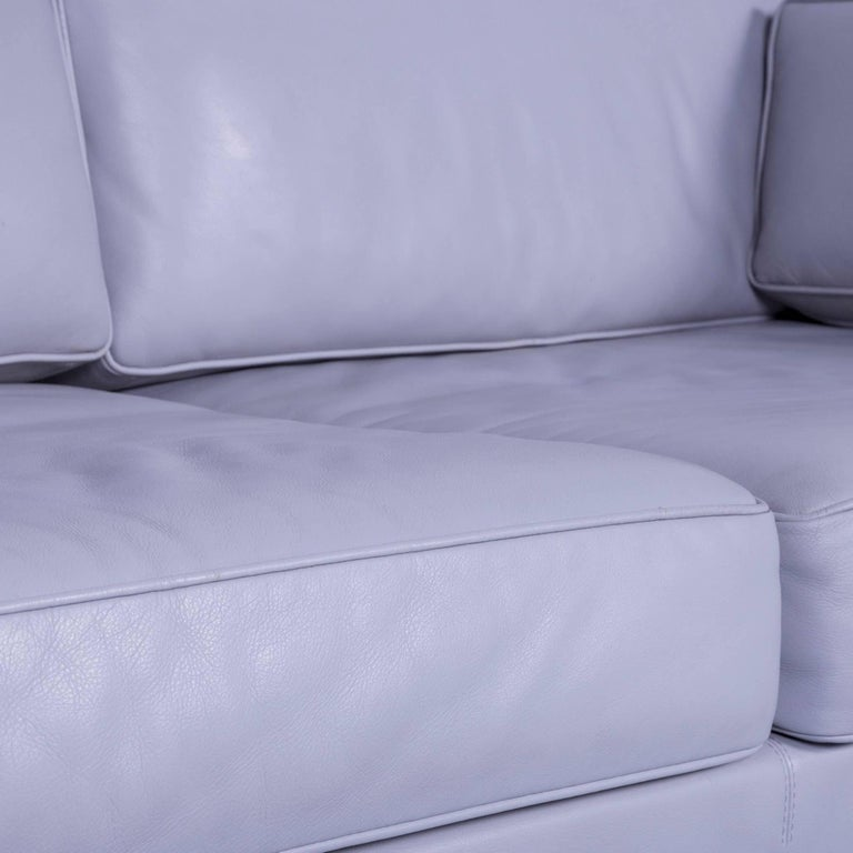 Contemporary Walter Knoll Leather Sofa Grey Two-Seat Couch For Sale