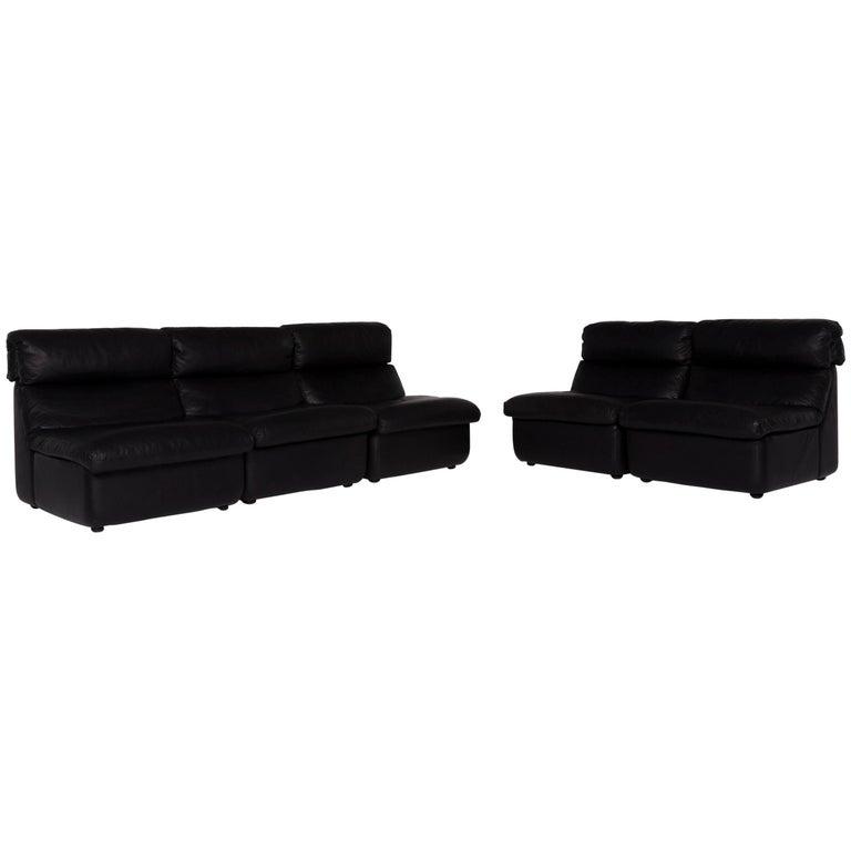 Sensational Walter Knoll Leather Sofa Set Black Three Seat Two Seat Ibusinesslaw Wood Chair Design Ideas Ibusinesslaworg