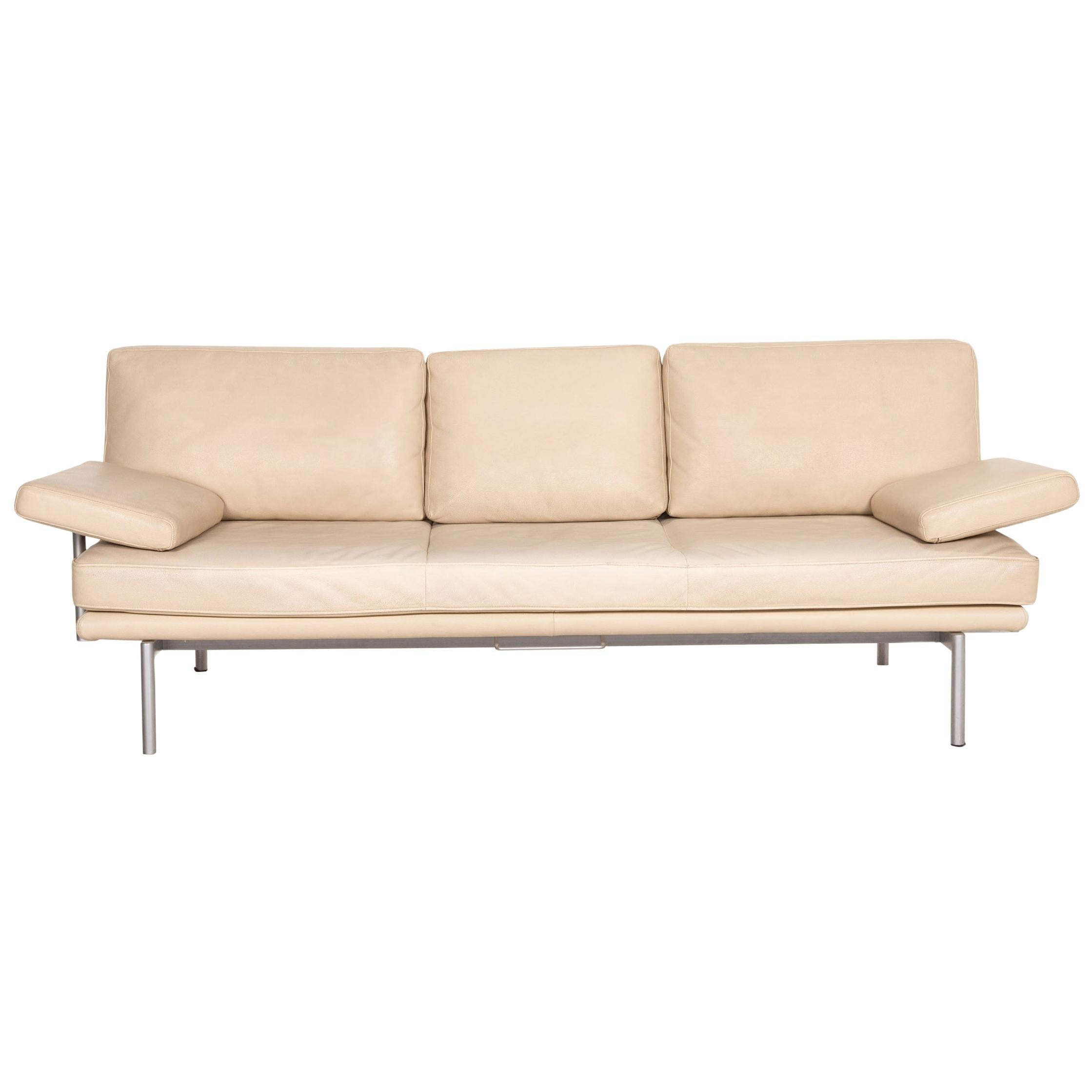 Walter Knoll Living Platform Leather Sofa Beige Three-Seater Function Coucg