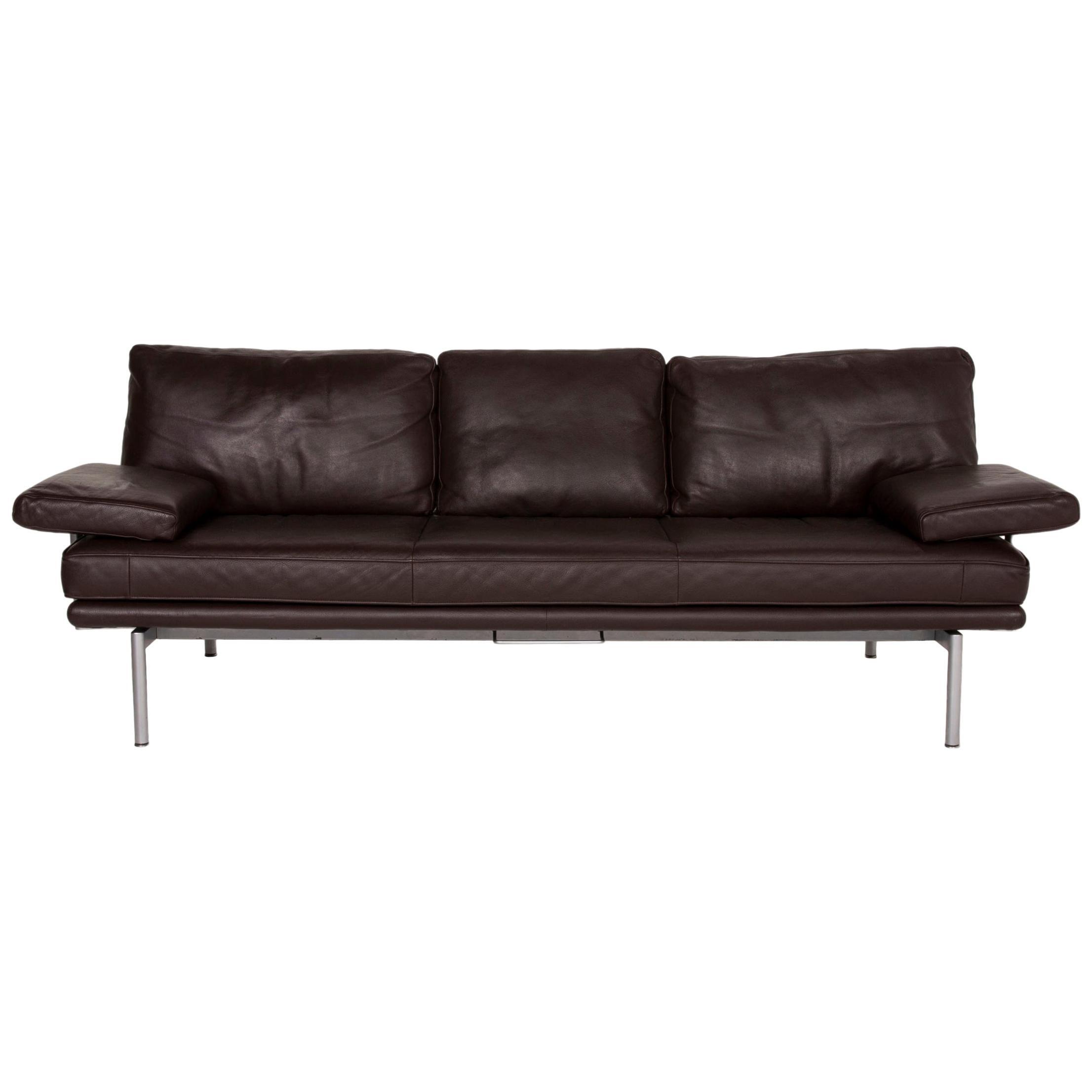 Walter Knoll Living Platform Leather Sofa Brown Three-Seater Function Dark Brown