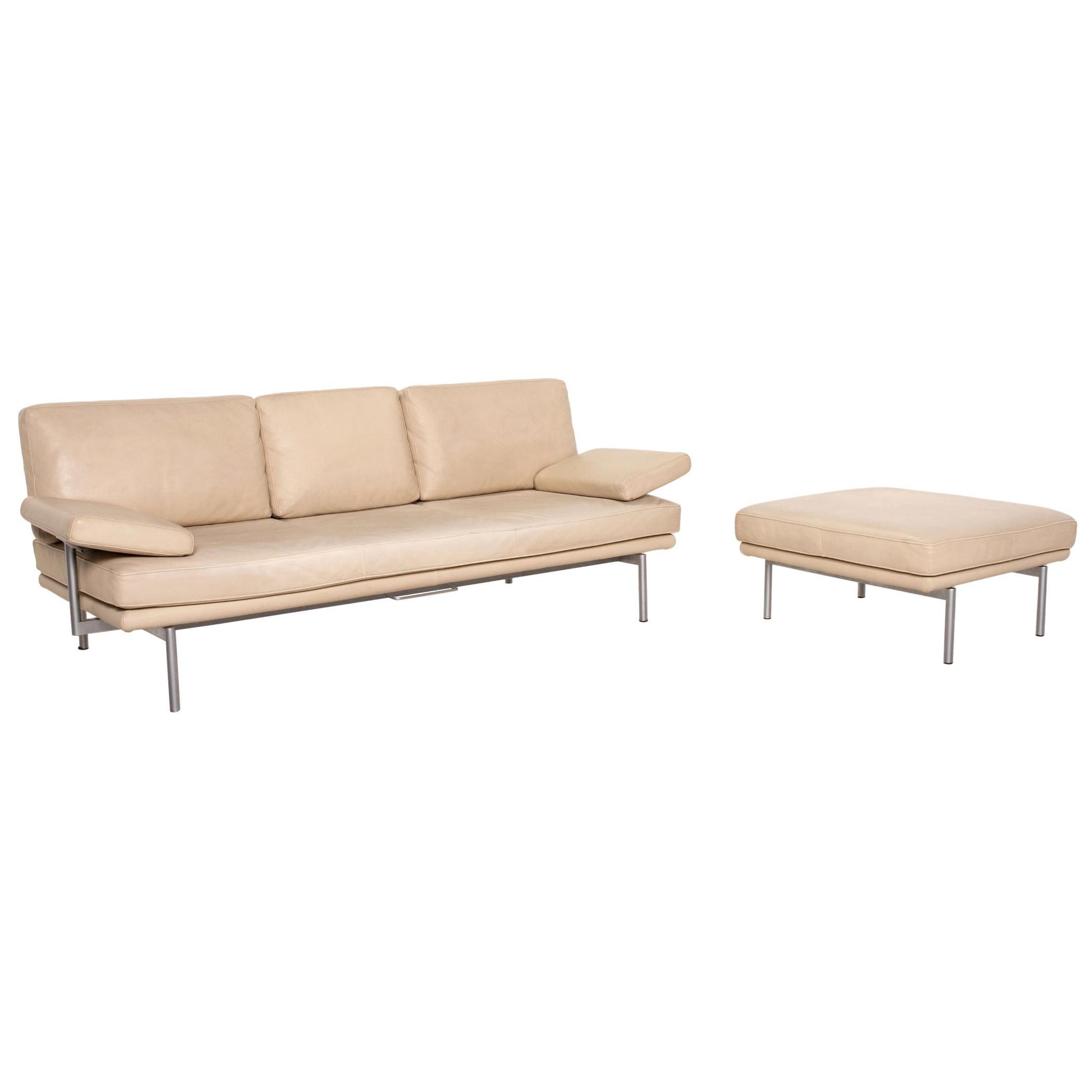 Walter Knoll Living Platform Leather Sofa Set Beige 1x Three-Seater 1x Stool