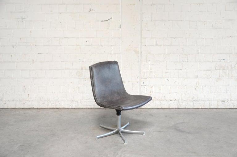 Mid-Century Modern Walter Knoll Logos Neckleather Chair Bernd Münzebrock For Sale