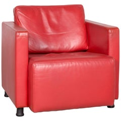 Walter Knoll Nelson Designer Leather Armchair Red Genuine Leather Chair