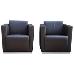 Walter Knoll Pair of Armchairs Cube Elton Dark Brown Leather
