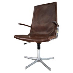 Walter Knoll Patinated Leather Office / Desk Swivel Armchair, Germany, 1970s